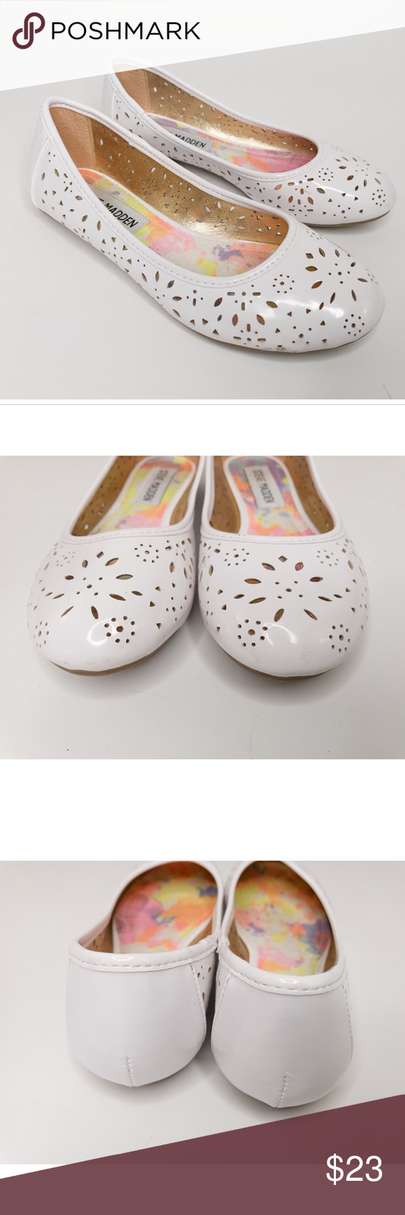 48e490668cc Steve Madden Girls Slip On Ballet Flat Shoes Steve Madden Girls Size 1  White Laser Cut