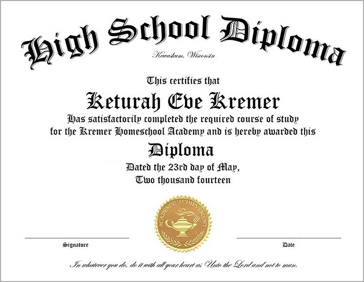 Home School Diploma Sheet for High School Graduates | Good to know ...