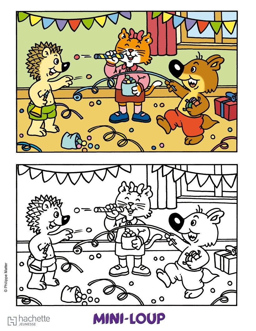 Coloriage la f te de mini loup coloriages et jeux coloriage coloriage dessin anim et dessin - Mini loup coloriage ...