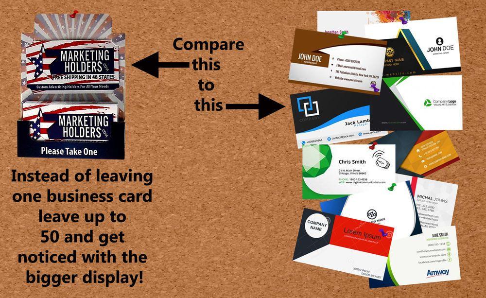 Fold up business card holders leave behind bulletin board stand or fold up business card holders leave behind bulletin board stand or pin lot of 50 marketingholder colourmoves