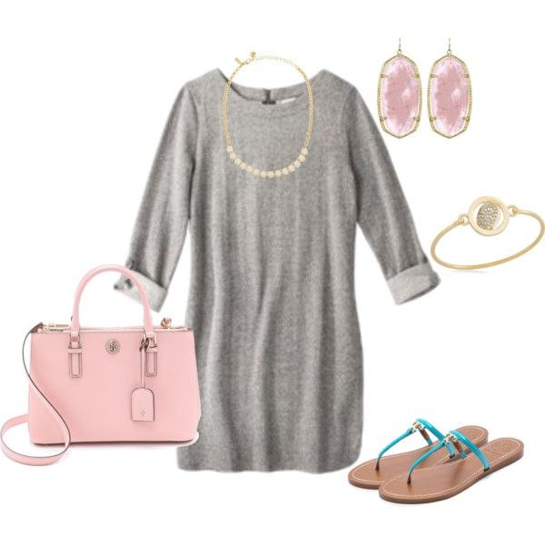 T-Shirt Dress and Tory Burch Flip Flops by nutmeg-326 on Polyvore featuring Merona, Tory Burch, Kate Spade, Kendra Scott and Carolee