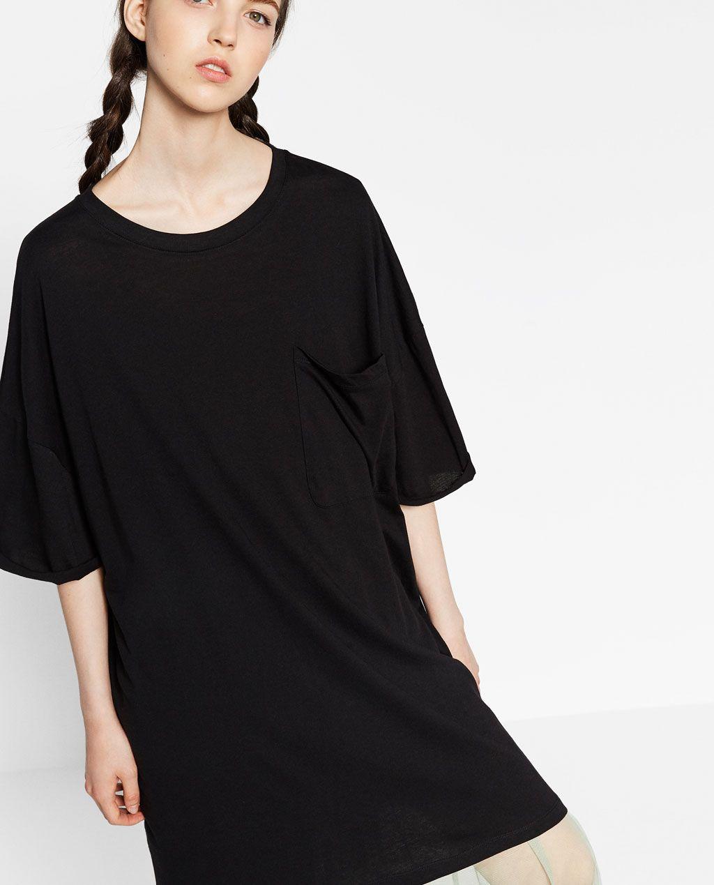 Black t shirt dress zara - Oversized T Shirt Dress Details 499 000 Vnd