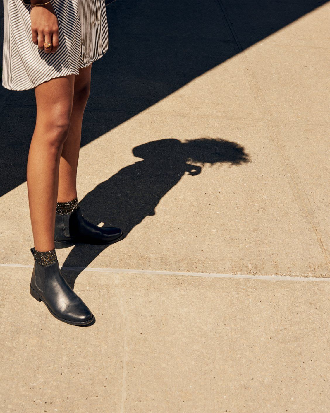 3d71a272b34ce madewell ainsley chelsea boot worn with the night sparkle ankle socks +  stripe-play shirtdress.