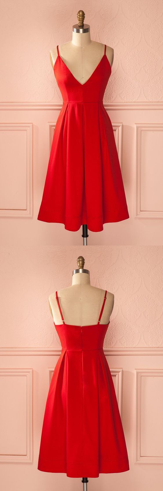 Short red homecoming dress party dress short red dancing dress