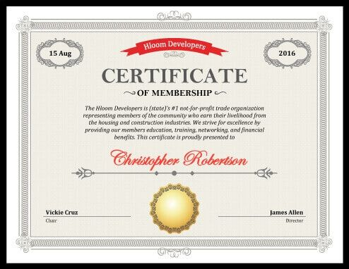 Free Certificate Template By HloomCom  Gin  Tonic