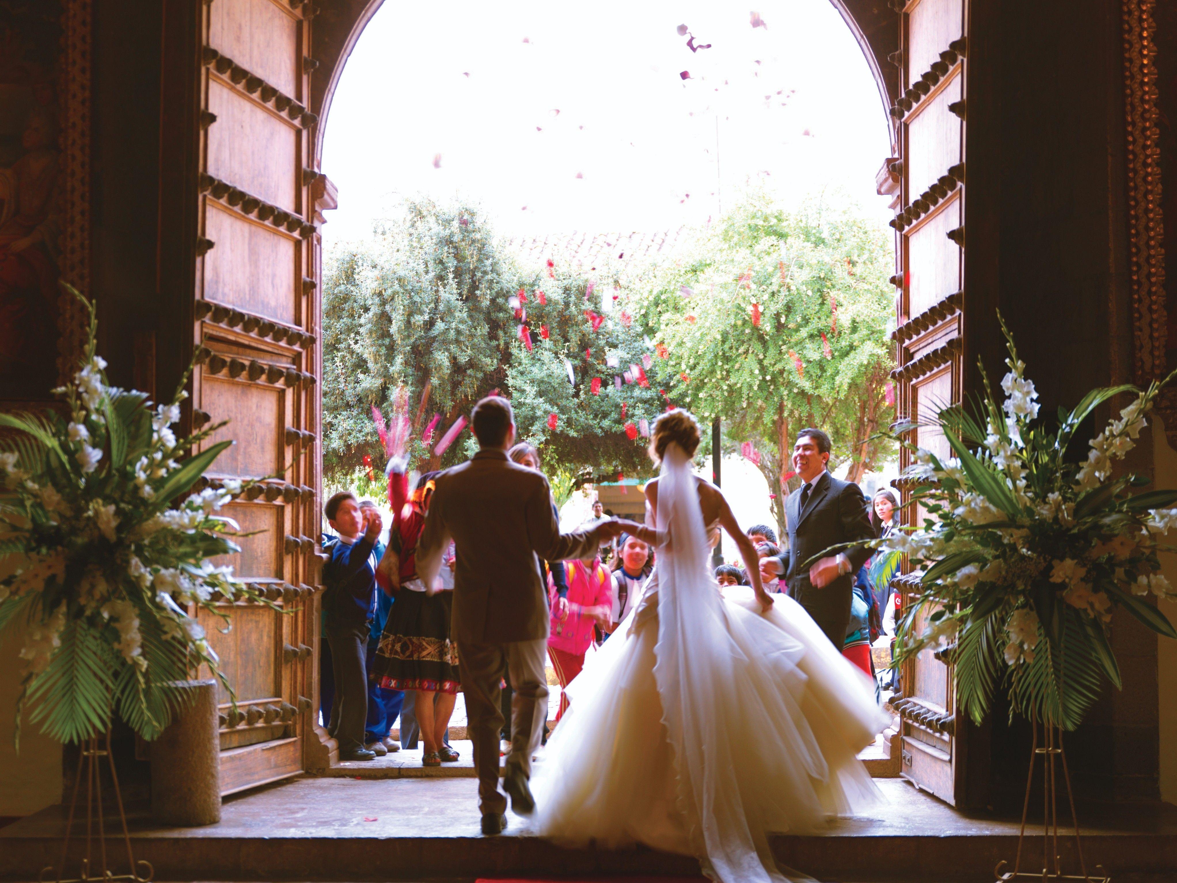 hotel monasterio cusco peru wedding bride just married