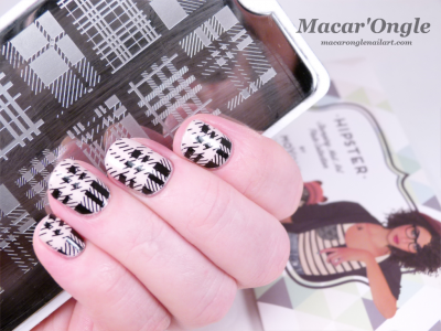 Pink and black tartan / plaid stamping nailart Stamping plaid / tartan rose et noir (MoYou London Hipster)