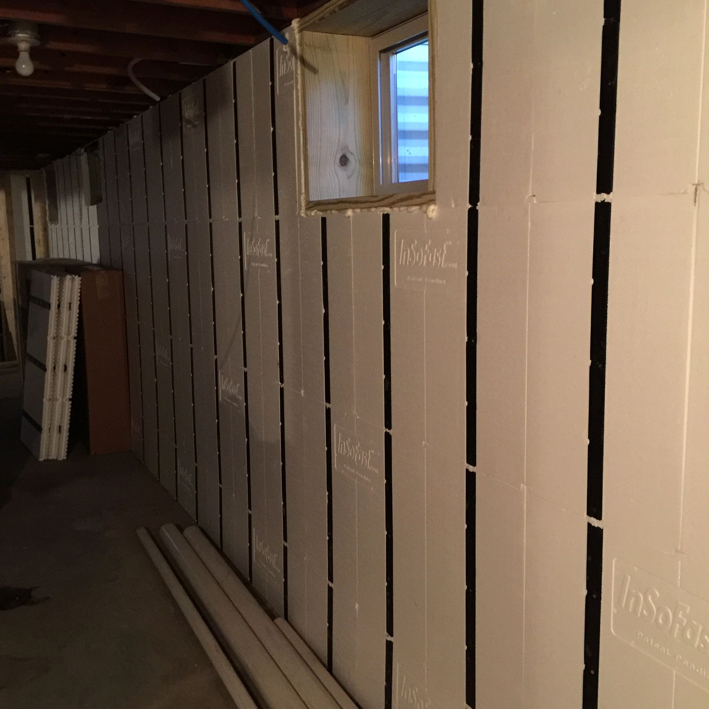 Basement Renovation In The Works With Insofast Diy Insulation Panels Basement Ceiling Ideas Cheap Window Insulation Basement Ceiling
