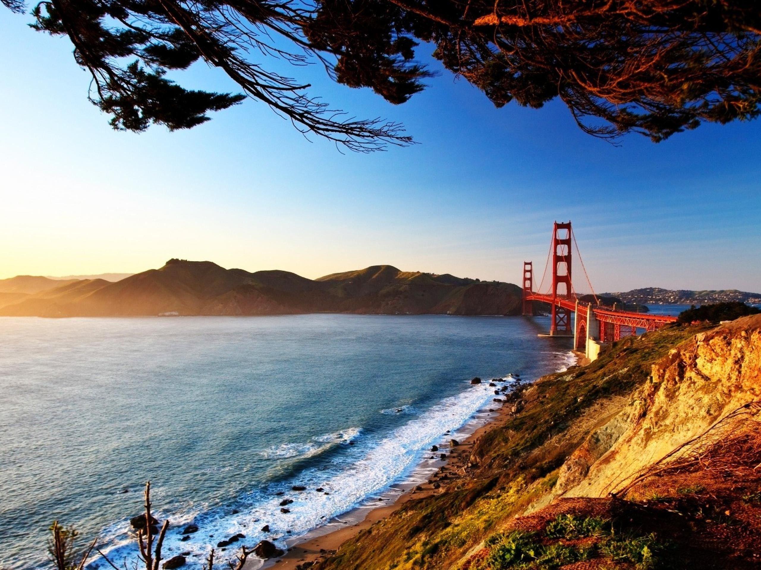 Water Landscapes Nature Sun Bridges Golden Gate Bridge San Francisco Wallpaper San Francisco Golden Gate Bridge San Francisco Bridge San Francisco Wallpaper Golden gate bridge sea coast rocks