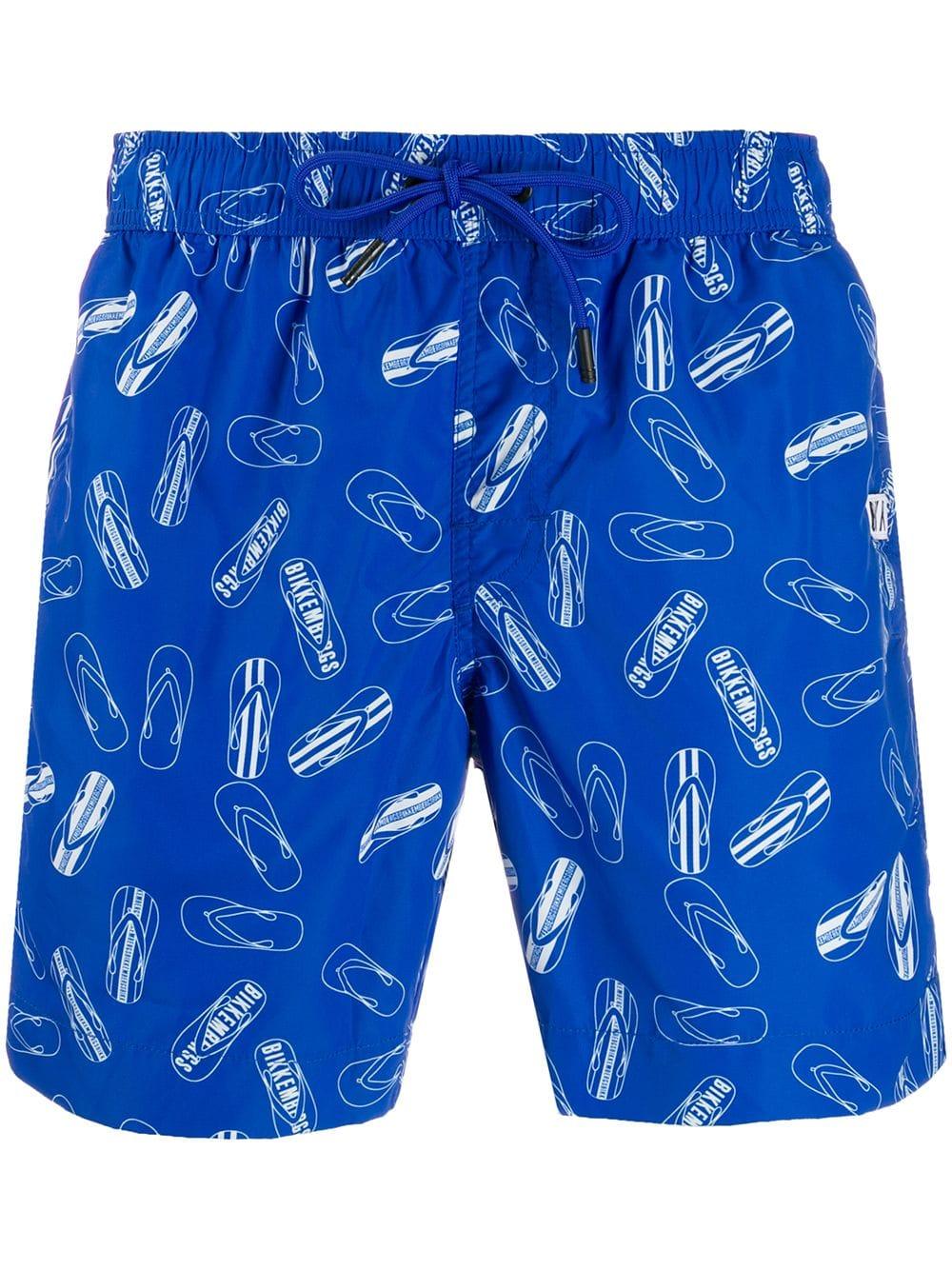 2fd987938f761d DIRK BIKKEMBERGS DIRK BIKKEMBERGS FLIP FLOPS PRINT SWIM SHORTS - BLUE.  #dirkbikkembergs #cloth