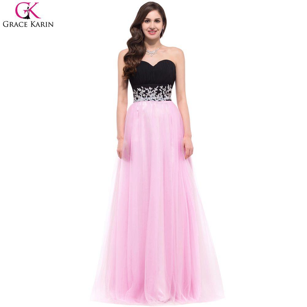 Grace karin pink long evening dresses appliques abendkleider