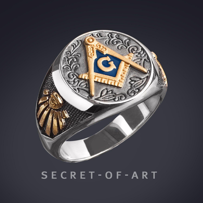 Masonic Freimaurer Ring Silber 925 24k-Gold-Plated, Vintage