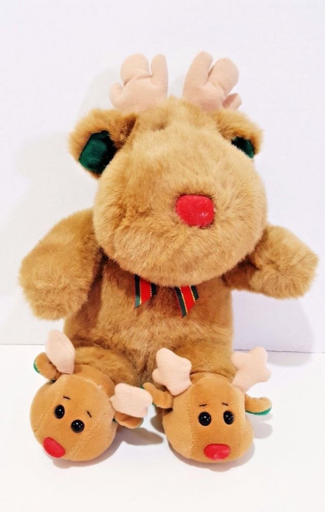 69fc172dc4e0 Plush Reindeer Christmas Soft Dreams Red Nose Wears Reindeer Slippers 16  Inch