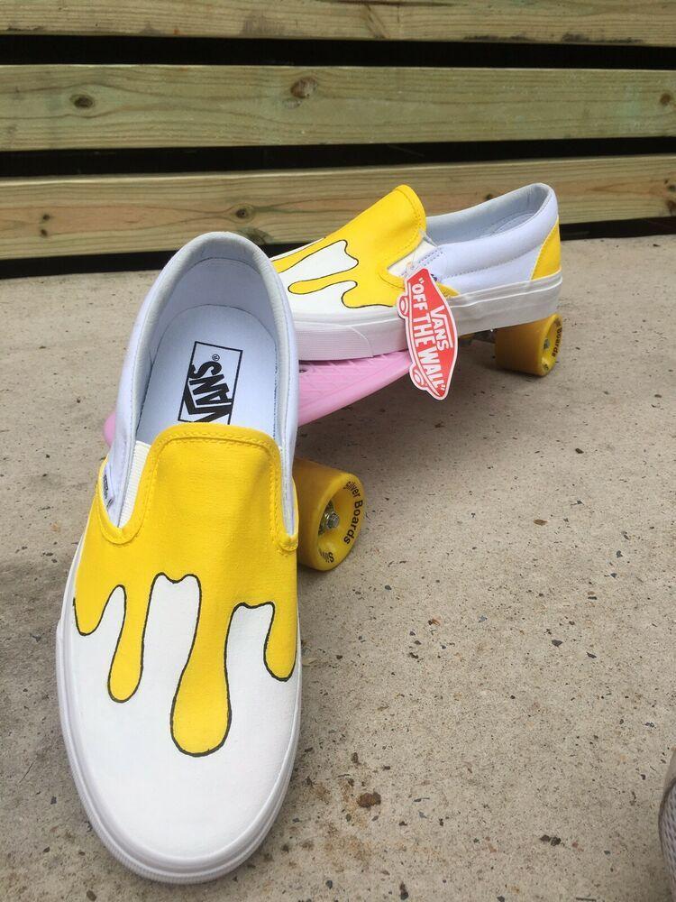 Custom Yellow Drip VANS Slip On Shoes