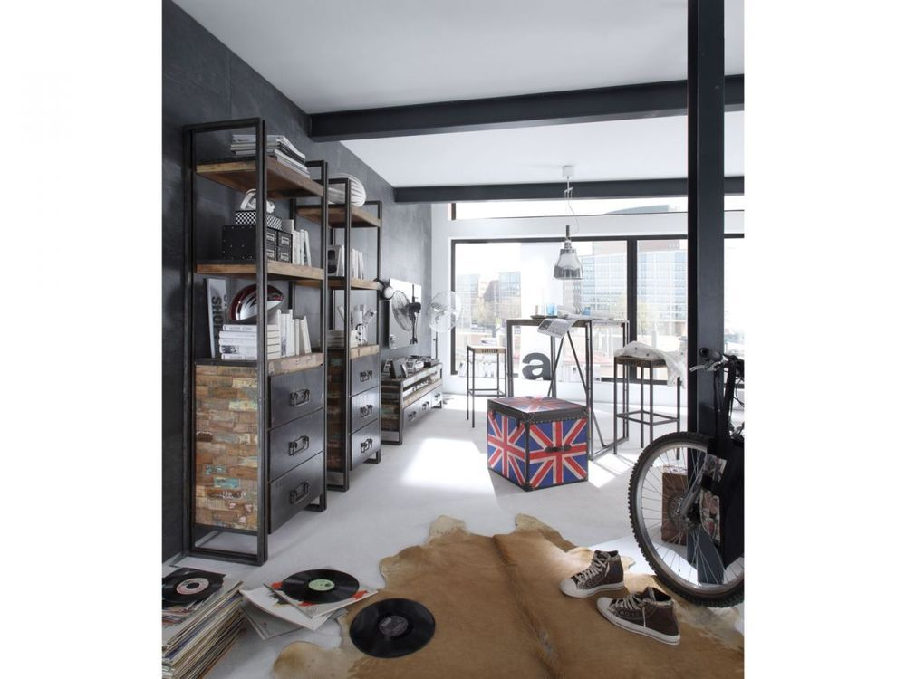 Wohnwand 2x Regal 1x Tv Bank Antik Holz Metall Designer Industrie
