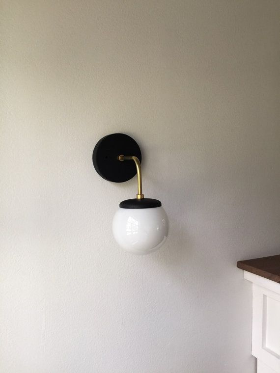 $140 Etsy   Alice U2022 Vintage Style Solid Brass Wall Sconce With Milk Glass  Globe U0026