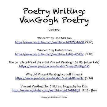 Poetry Writing Van Gogh Art Creative Descriptive Writi Vincent Essay Conclusion My