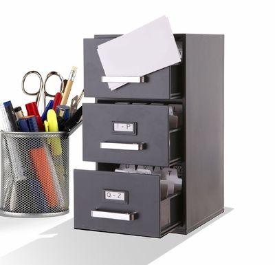 3 Drawer Mini File Cabinet Business Card Holder