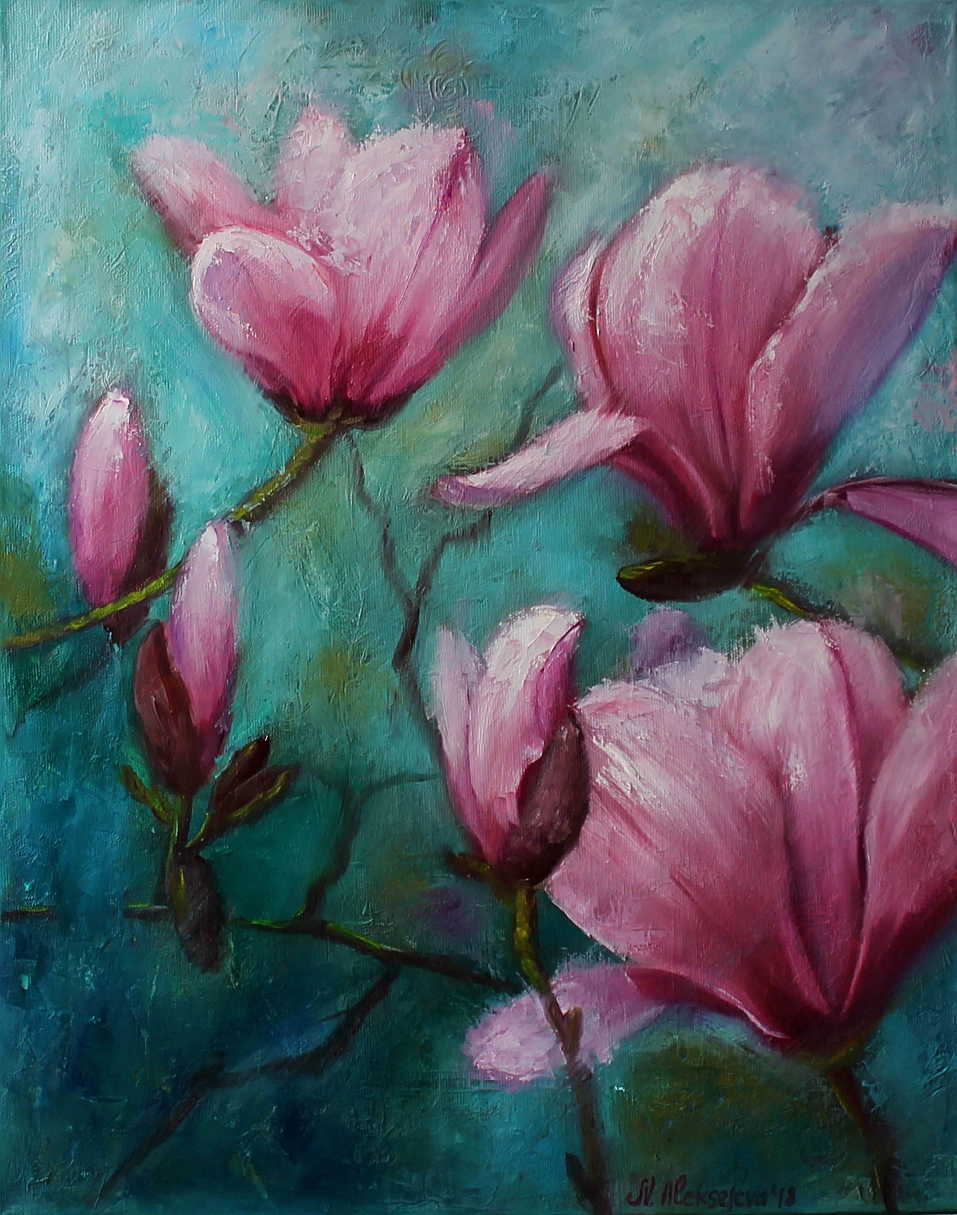Details About Original Oil Painting Flowers Pink Magnolia Art Work