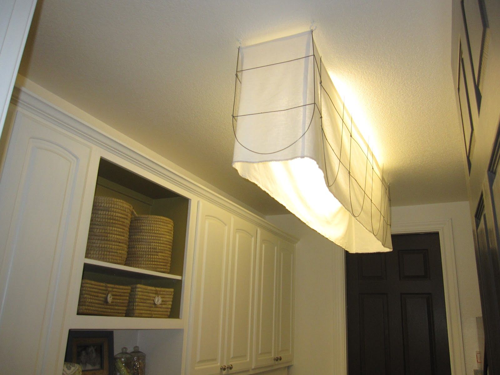 how to cover an ungly fluorescent light fixture. Black Bedroom Furniture Sets. Home Design Ideas