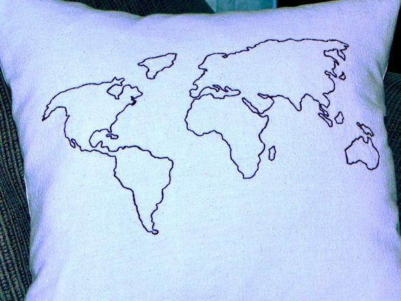 World map pillow $25
