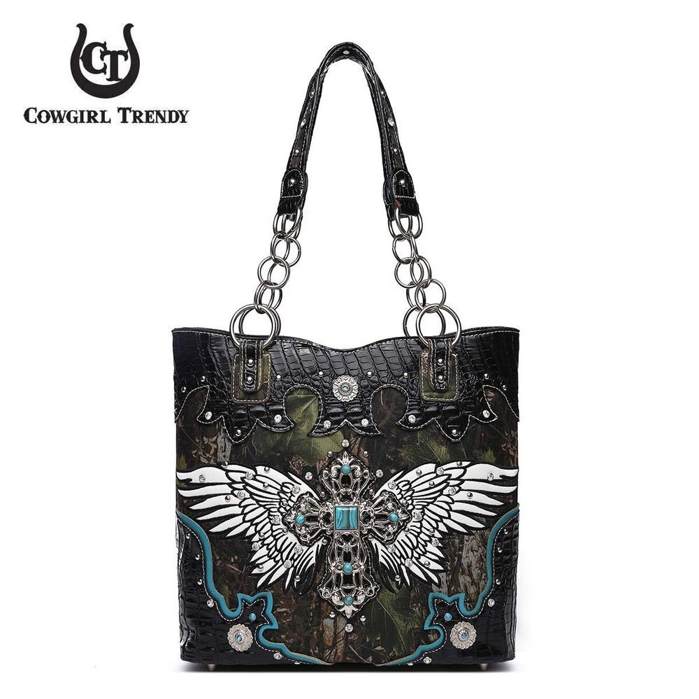 0c673eb20611 Southwestern Cowgirl Trendy Western Wings Cross Concho Camouflage ...