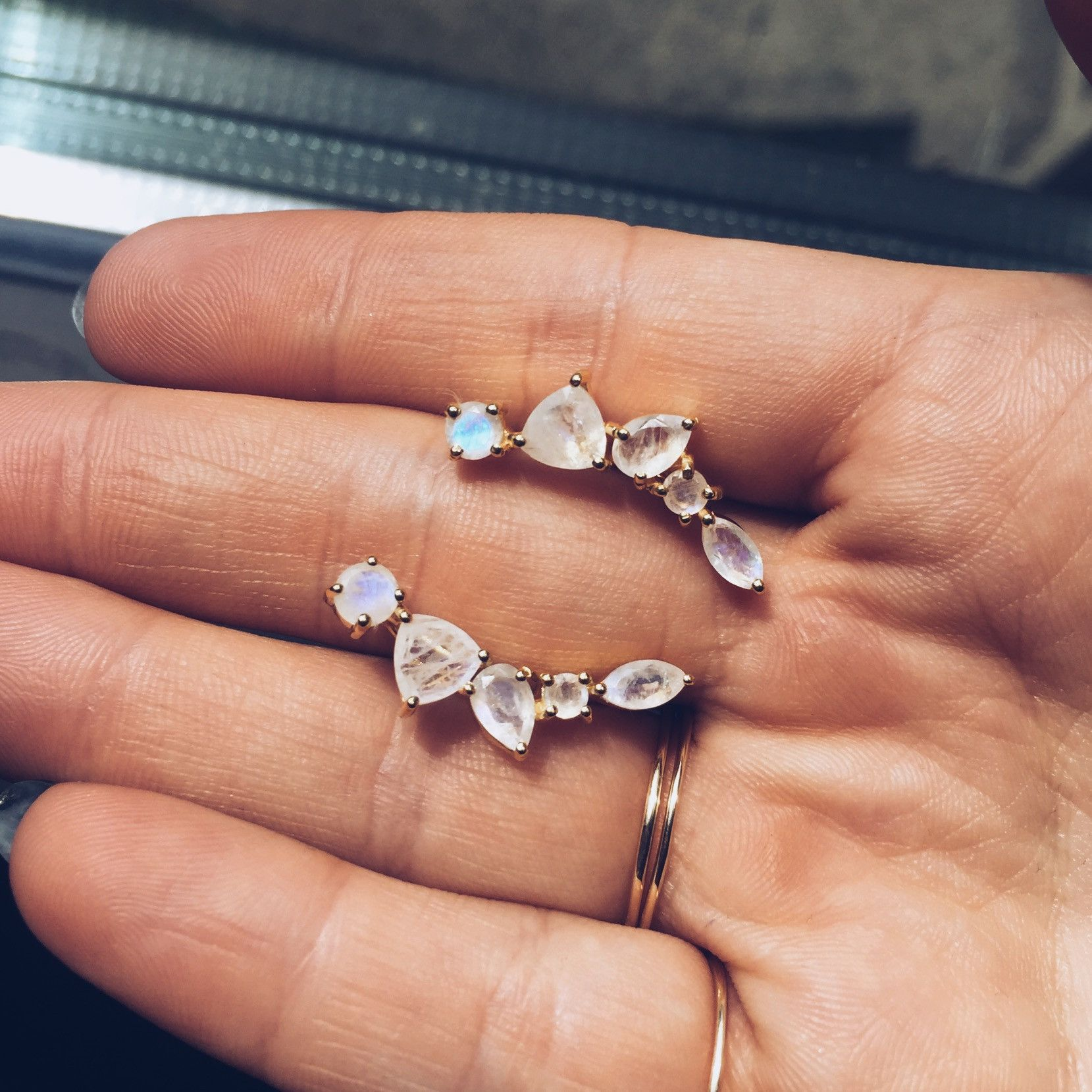 78bd5a7ed Wing Moonstone Ear Climbers in 2019 | accessories | Earrings, Ear ...