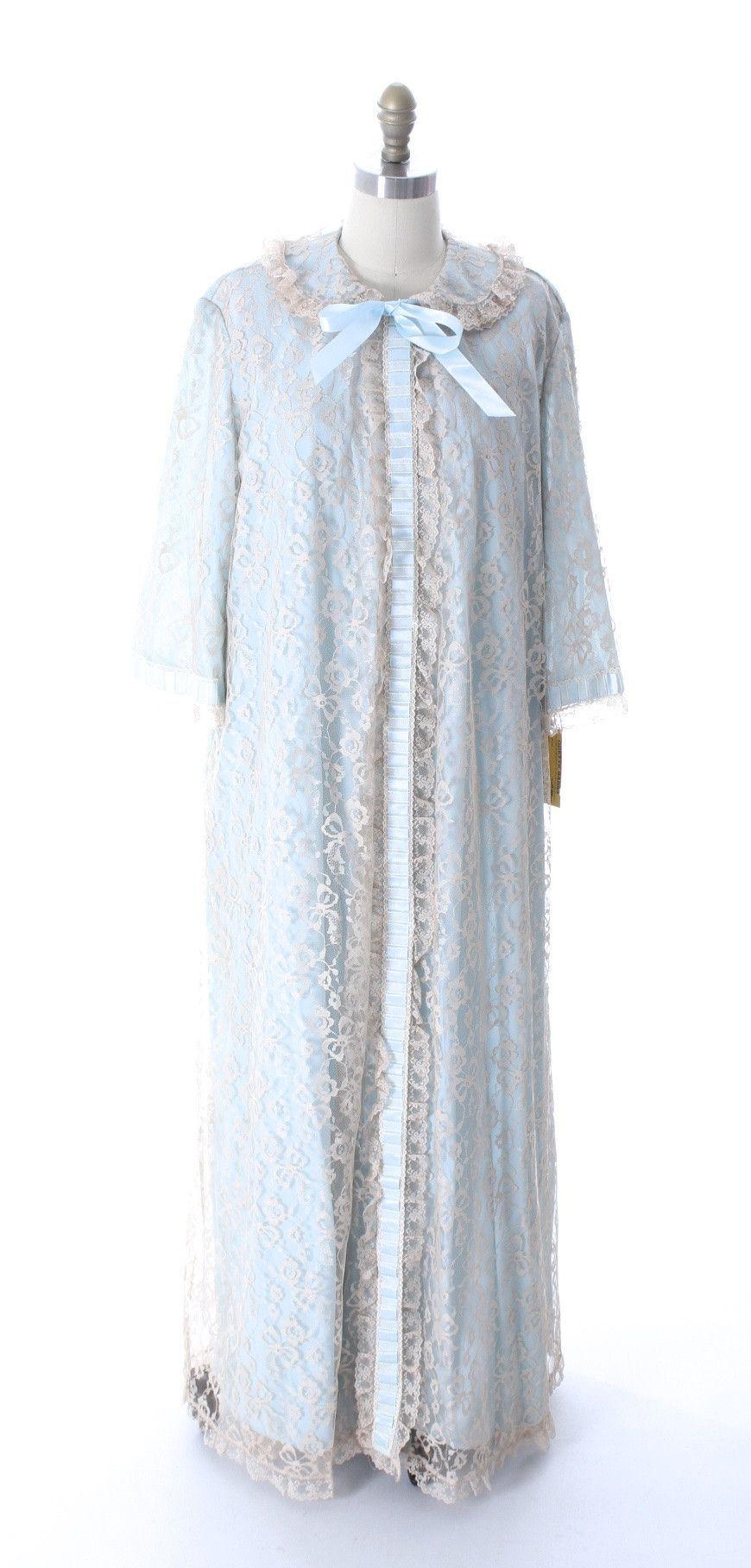 Odette Barsa VTG Nylon Lingerie Nightgown Robe Set Lace Peignoir ...
