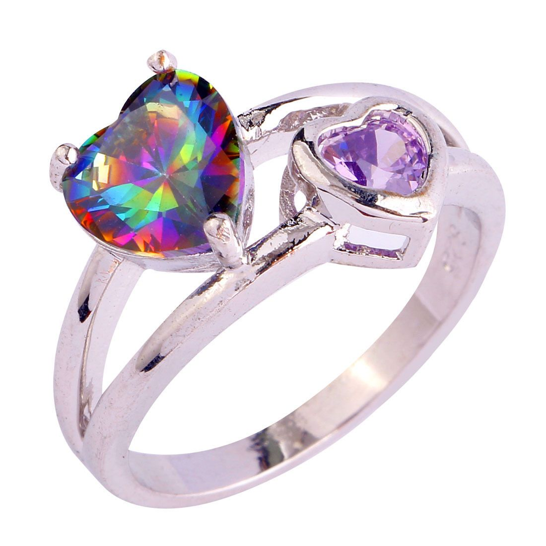 Classique Rose /& White Topaz Gemstone Jewelry Silver Ring Taille 6 7 8 9 10 11 12