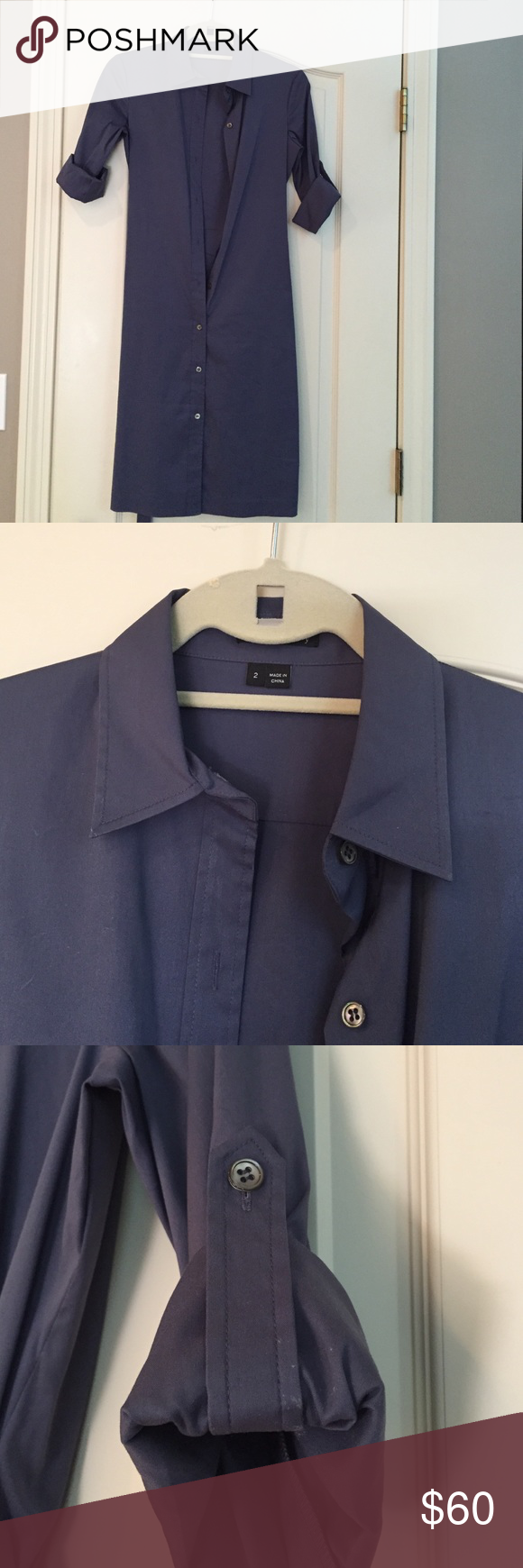 Dress Shirt dress with self-tie belt, rolled up sleeves with button. Perfect condition Theory Dresses