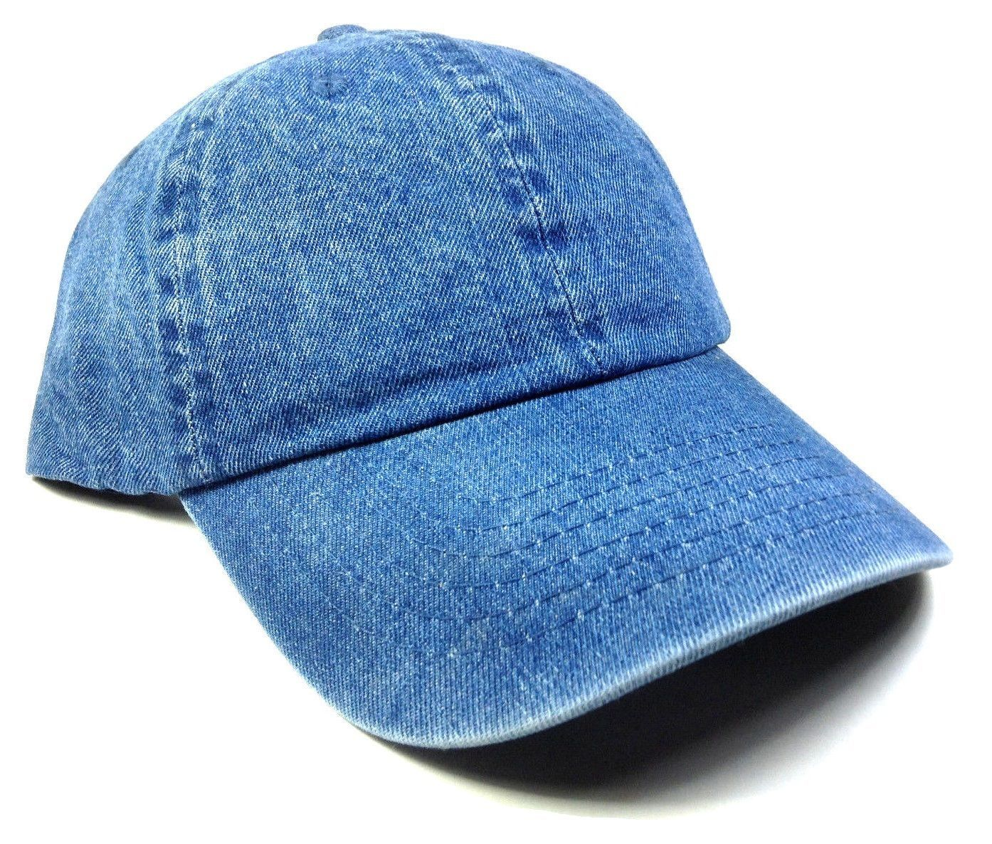 fb6cd04ee66 Slouch Solid Blue Jean Plain Denim Dad Hat Cap Curved Bill Adjustable  Buckle Nwt