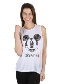 45678d5c58110 Disney Mickey Mouse Women s Tank Top Dream Sketch Off-White (SMALL) W70