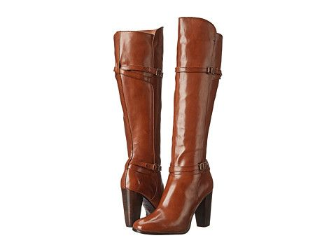 Frye laurie zip tall cognac smooth polished veg