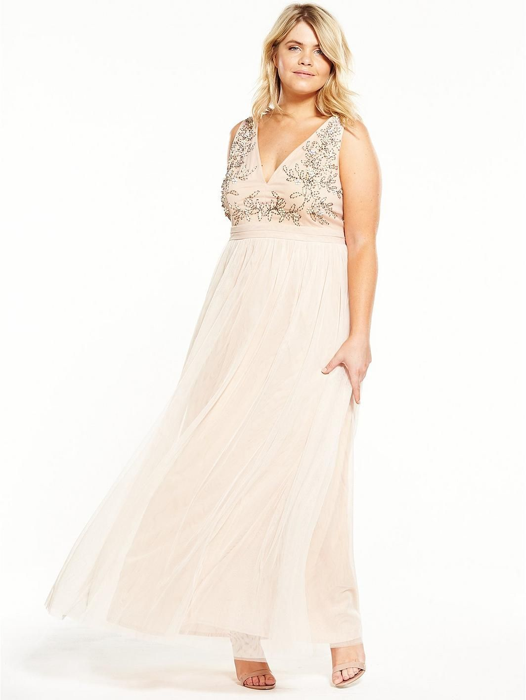 Little Mistress Curve Embellished V Neck Maxi Dress | Maxi dresses ...