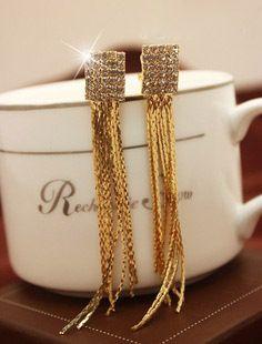 Strass stelle di qualità lungo nappe clip orecchio non trafitto orecchini, orecchini di clip senza piercing largos