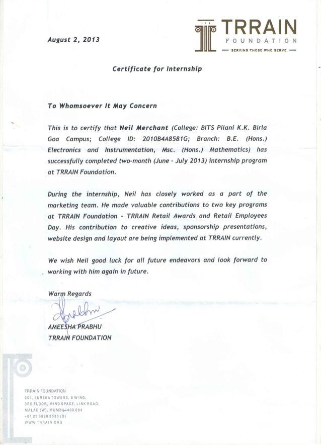 Trrain Internship Certificate  Millennial Internships