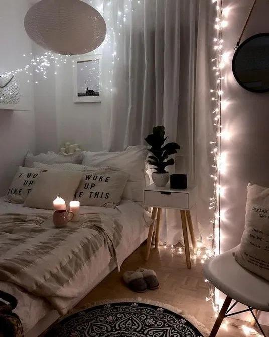 135+ beautiful diy fairy light for minimalist bedroom decoration 14 | androidtips.me | Маленькие уютные спальни, Идеи украшения спальни, Крутые комнаты