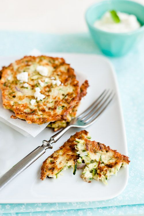 zucchini fritters with feta - yum! Will have to try with my gf flour