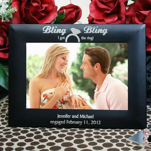 personalized engraved engagement frame - Engagement Photo Frames