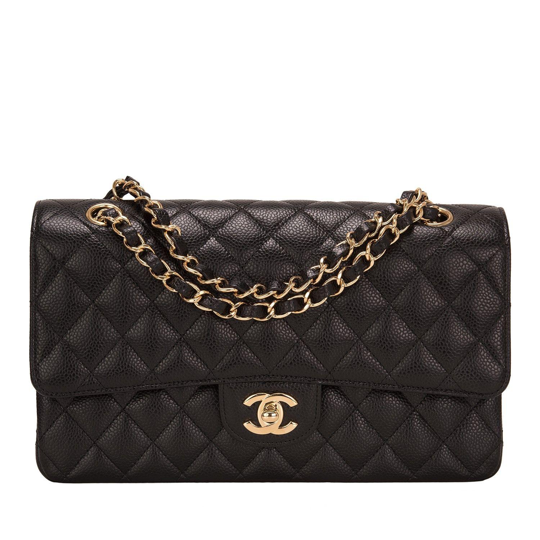 fb91d01e12e4c4 Chanel Black Quilted Caviar Medium Classic Double Flap Bag Gold Hardware