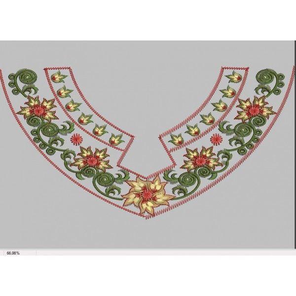 Neckline embroidery design designs