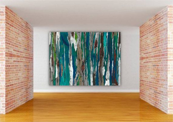 Very large teal art tree art large colorful wall art print abstract landscape turquoise teal blue canvas art white