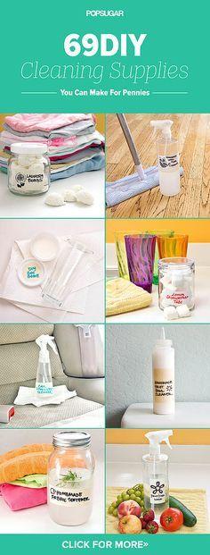 Make These 69 DIY Cleaning Products For Pennies/// HAY QUE BAJAR MUCHO PARA SALTAR TODOS LOS ANUNCIOS Y LLEGAR A LO QUE NOS INTERESA Y LUEGO PINCHAR EN CADA UNO DE ELLOS PARA LEERLO.