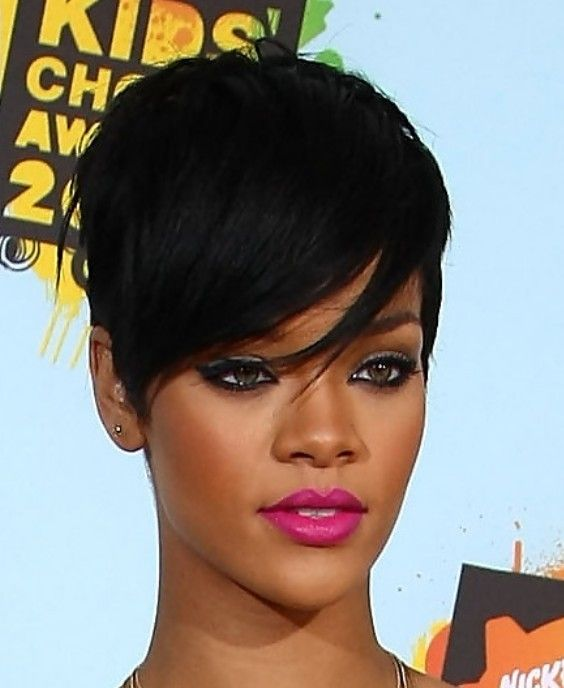 Rihanna Short Black Haircut Short Hair Styles For Round Faces