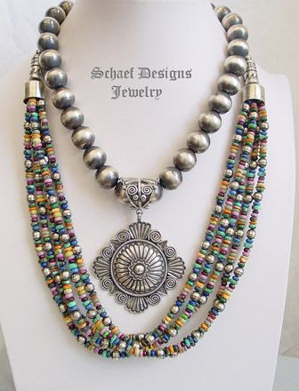 Schaef Designs Multi Mixed Stone & Sterling Silver Bench Bead 5 Strand Necklace Short | New Mexico