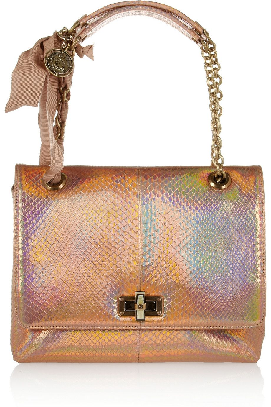 Lanvin - The Happy medium holographic python shoulder bag