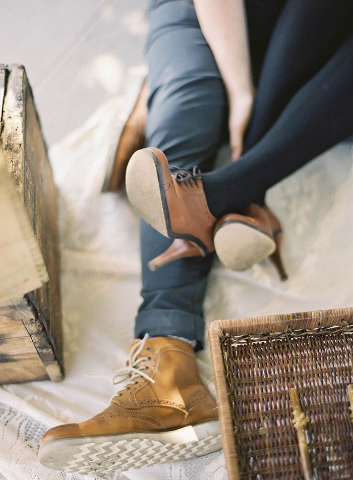 Leather boots on him and her | engagement style | photo by Jen Huang