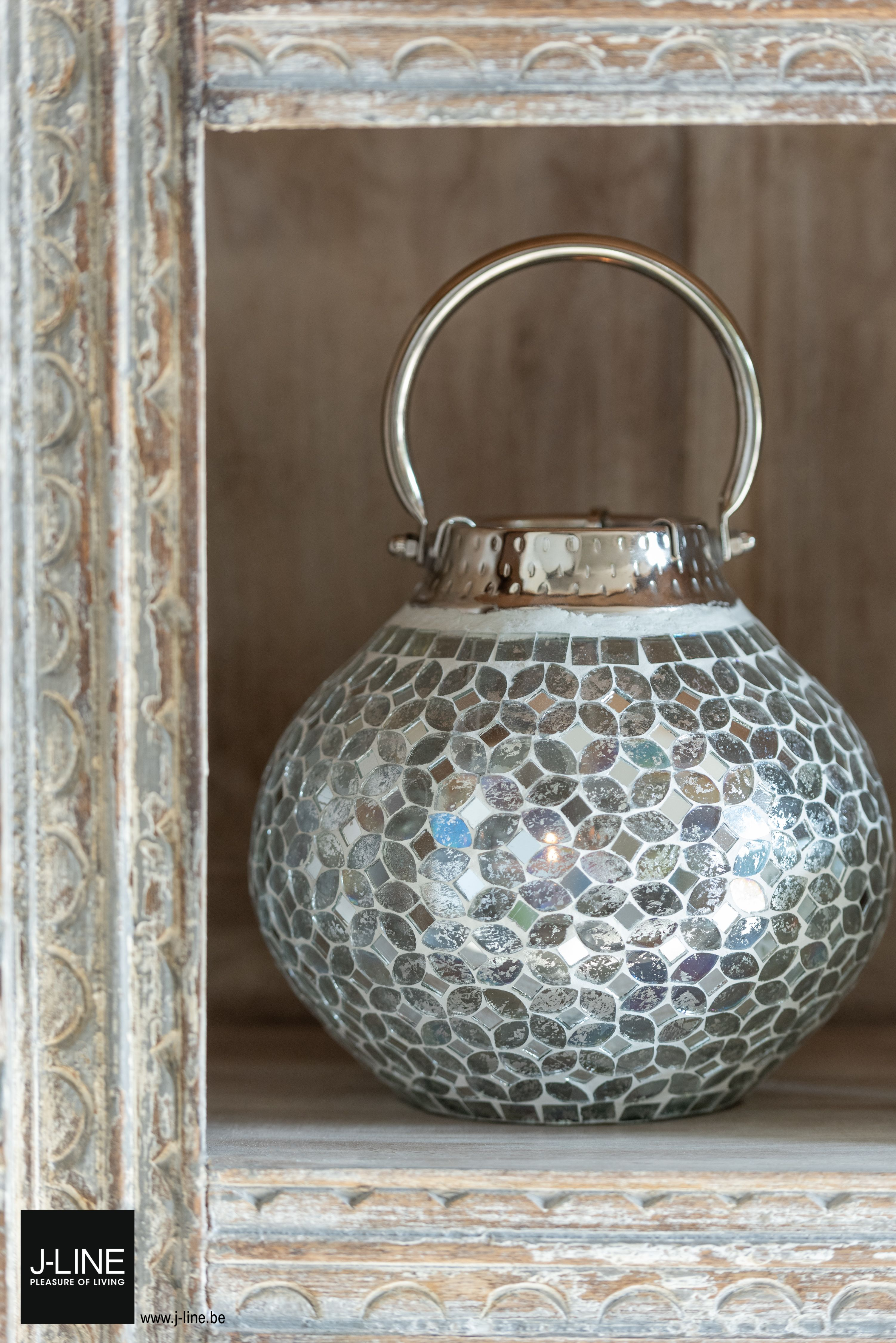 Jline Decoration Riad Romance New Spring Summer Collection 2020 Lantern Mosaic Glass Silver Carvedwood Candle Theelichthouder Opbergdozen Thuis