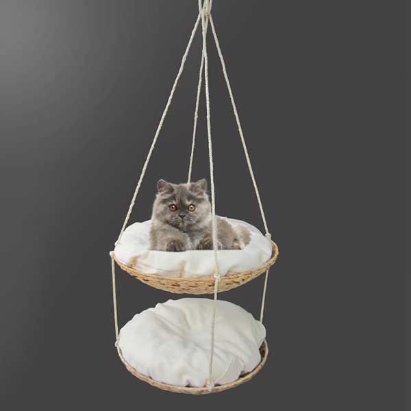 Purrshire Banana Leaf Hanging Cat Bed 2 Tier Cat