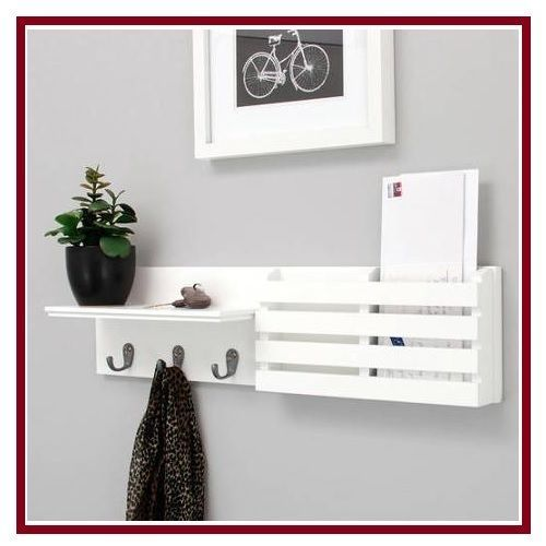 details about entryway wall shelf mail holder with 3 hook. Black Bedroom Furniture Sets. Home Design Ideas